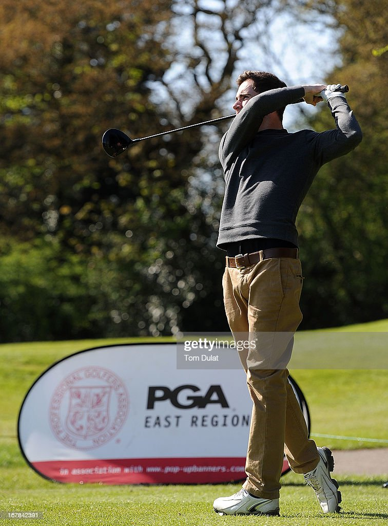 Joseph Farley of North Middlesex Golf Club tees off from the 1st hole during the Powerade PGA Assistants' Championship East Regional Qualifier at Chigwell Golf Club on May 01, 2013 in Chigwell, England.