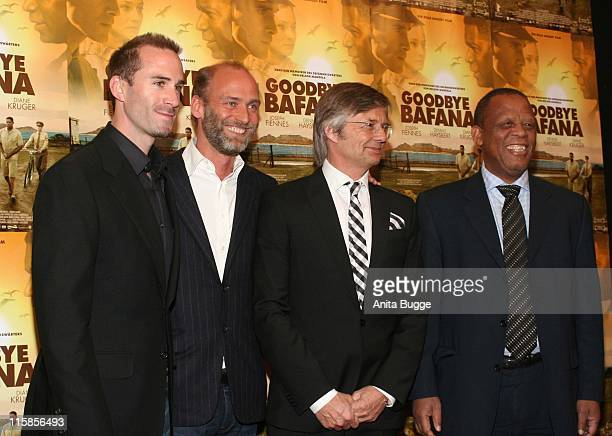 Joseph Fiennes Andro Steinborn producer Bille August director and HE Moses Chikane Ambassador of the Republic of South Africa