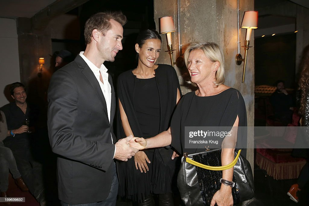 Joseph Fiennes, Maria Dolores Dieguez and Elisabeth Schwaiger attend the 'Laurel After Show Party - Mercedes-Benz Fashion Week Autumn/Winter 2013/14' at Soho House on January 17, 2013 in Berlin, Germany.