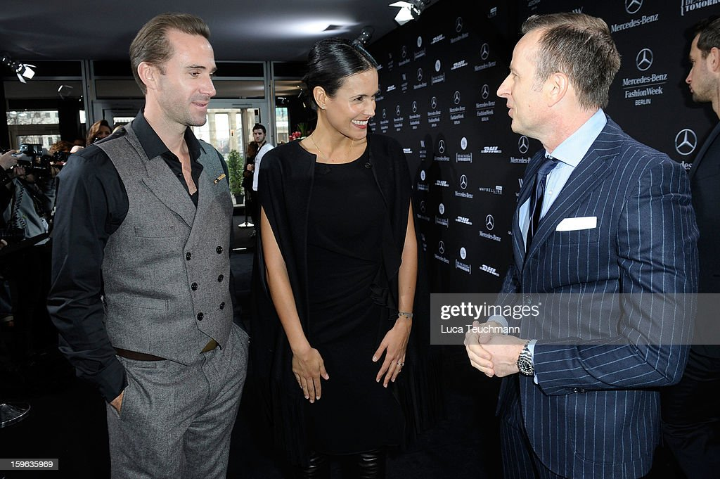 Joseph Fines, Maria Dolores Dieguez and Dirk Reichert attend the Laurel Autumn/Winter 2013/14 fashion show during Mercedes-Benz Fashion Week Berlin at Brandenburg Gate on January 17, 2013 in Berlin, Germany.