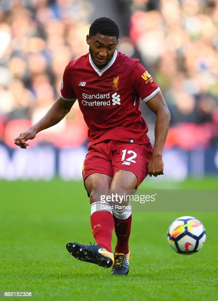 Joseph Gomez of Liverpool runs with the ball during the Premier League match between Tottenham Hotspur and Liverpool at Wembley Stadium on October 22...