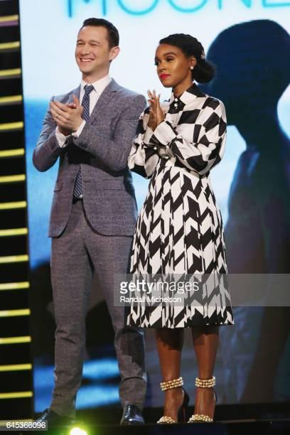 Joseph Gordon Levitt and Janelle Monae speak onstage during the 2017 Film Independent Spirit Awards at the Santa Monica Pier on February 25 2017 in...