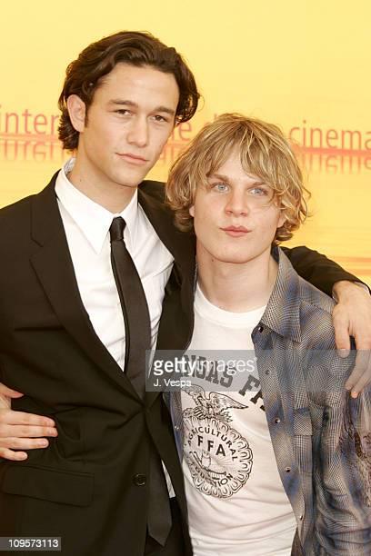 Joseph GordonLevitt and Brady Corbet during 2004 Venice Film Festival 'Mysterious Skin' Photo Call at Casino in Venice Lido Italy