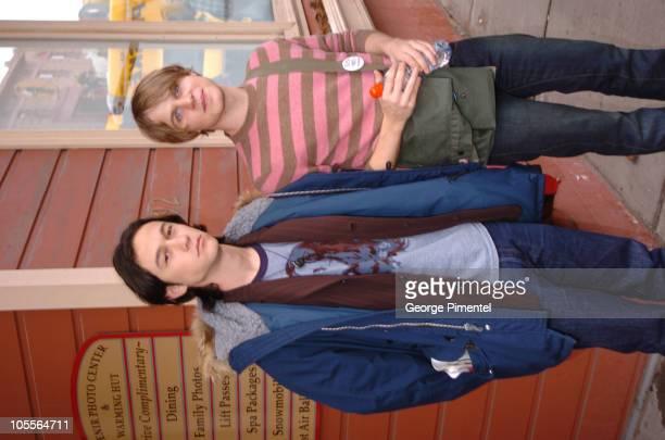 Joseph GordonLevitt and Brady Corbet during 2005 Park City Seen Around Town Day 9 at Egyptian Theater in Park City Utah United States
