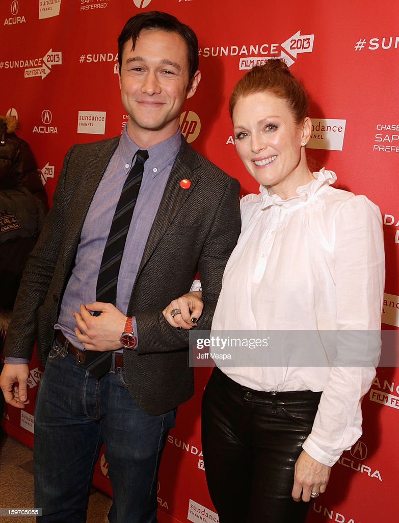 <a gi-track='captionPersonalityLinkClicked' href=/galleries/search?phrase=Joseph+Gordon-Levitt&family=editorial&specificpeople=213632 ng-click='$event.stopPropagation()'>Joseph Gordon-Levitt</a> and <a gi-track='captionPersonalityLinkClicked' href=/galleries/search?phrase=Julianne+Moore&family=editorial&specificpeople=171555 ng-click='$event.stopPropagation()'>Julianne Moore</a> attend 'Don Jon's Addiction' Premiere during the 2013 Sundance Film Festival at Eccles Center Theatre on January 18, 2013 in Park City, Utah.