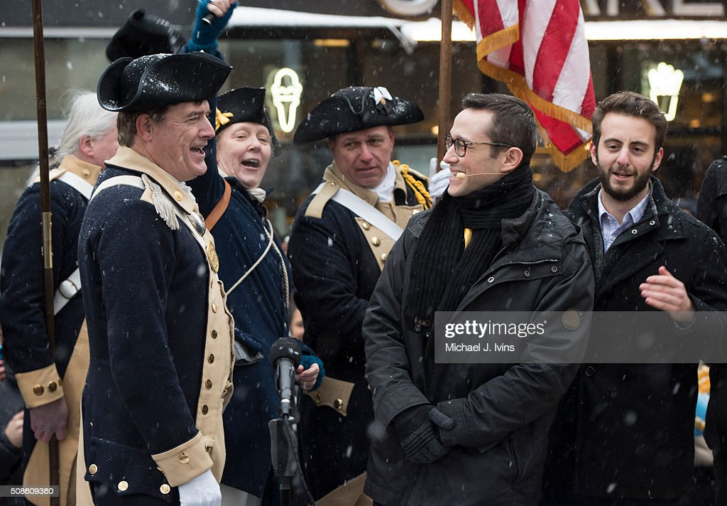 <a gi-track='captionPersonalityLinkClicked' href=/galleries/search?phrase=Joseph+Gordon-Levitt&family=editorial&specificpeople=213632 ng-click='$event.stopPropagation()'>Joseph Gordon-Levitt</a> is greeted by members of the Lexington (MA) Minutemen during his introduction as the Hasty Pudding Theatricals 2016 Man Of The Year on February 5, 2016 in Cambridge, Massachusetts.
