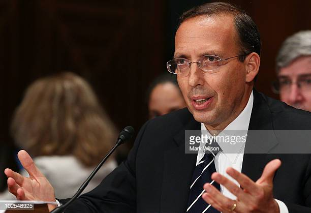 Joseph J Cassano former Chief Executive Officer American International Group testifies during a Financial Crisis Inquiry Commission hearing on...