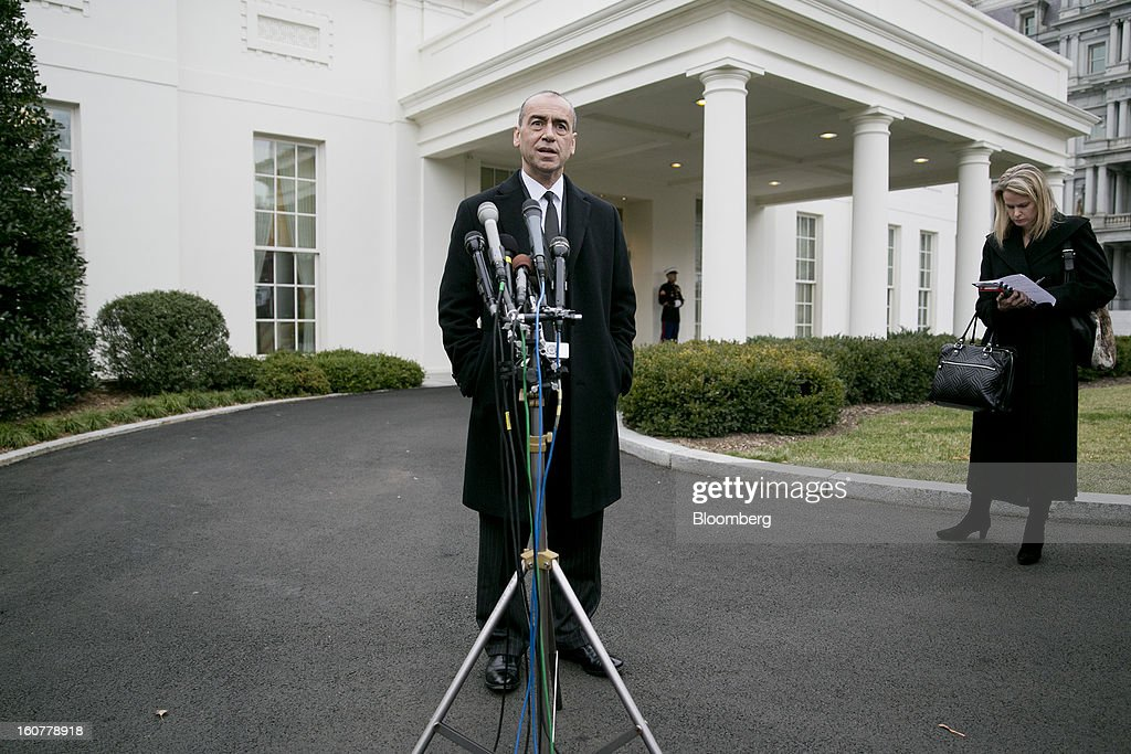 Joseph 'Joe' Echevarria, chief executive officer of Deloitte LLP, speaks to the media following a meeting with U.S. President Barack Obama at the White House in Washington, D.C., U.S., on Tuesday, Feb. 5, 2013. U.S. Obama urged Congress to postpone automatic spending cuts scheduled to begin March 1 to avoid 'real and lasting impacts' on U.S. economic growth. Photographer: Andrew Harrer/Bloomberg via Getty Images