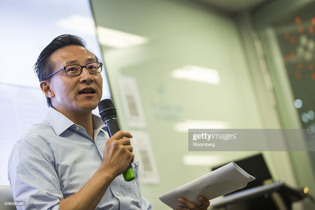 Joseph 'Joe' Tsai, co-vice chairman of Alibaba Group Holding Ltd., speaks during a news conference in Hong Kong, China, on Thursday, May 5, 2016. Alibaba's HK$1 billion fund for Hong Kong entrepreneurs is investing in GoGoVan, a hauling and delivery service that's one of the city's biggest startups, and other online services. Photographer: Justin Chin/Bloomberg via Getty Images