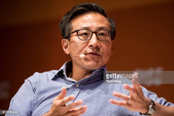 Joseph 'Joe' Tsai covice chairman of Alibaba Group Holding Ltd speaks during the Rise conference in Hong Kong China on Tuesday July 11 2017 Stripe...