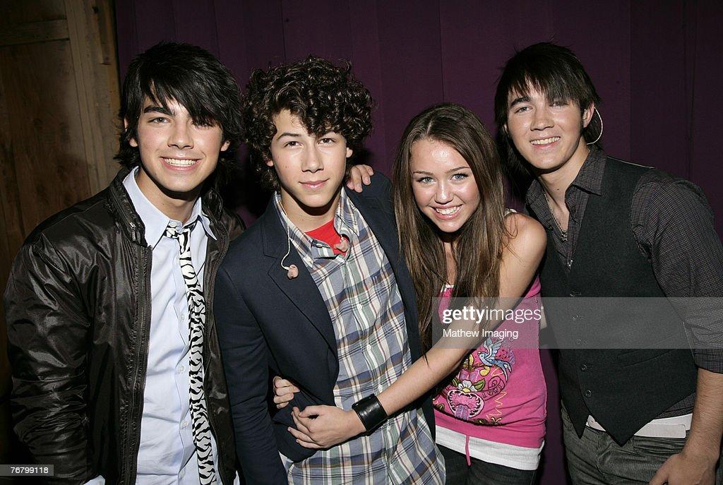 Joseph Jonas Nick Jonas Miley Cyrus and Kevin Jonas *EXCLUSIVE*