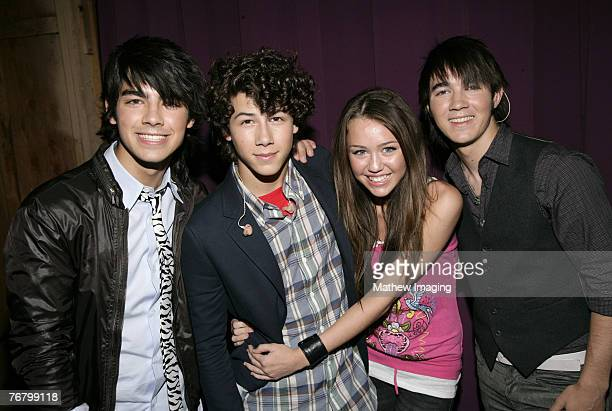Joseph Jonas Nick Jonas Miley Cyrus and Kevin Jonas *EXCLUSIVE*