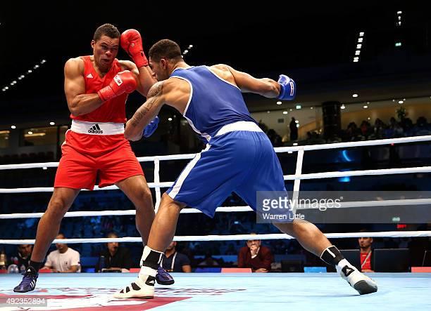 Joseph Joyce of Great Britain fights Tony Yoka of France in the semi final of the Men's Heavy Weight during the AIBA World Boxing Championships Doha...