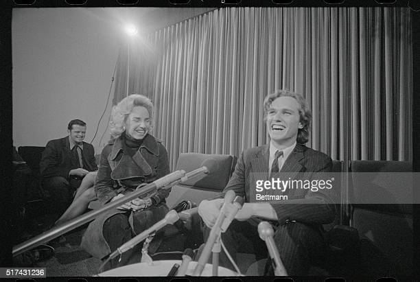 Joseph Kennedy II enjoys a laugh with his mother Ethel during a press conference at Logan Airport upon his arrival from an Arab guerillas hijacked...