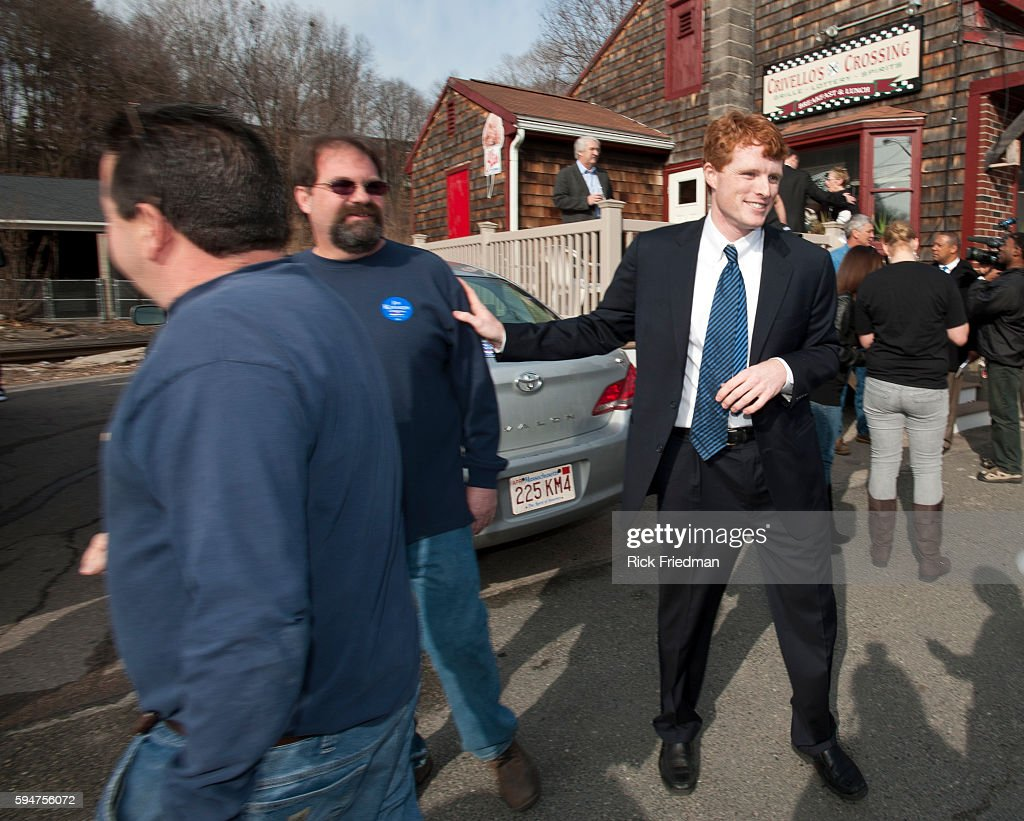 Joseph Kennedy III campaigning at Crivello's Crossing in Milford MA on the 1st day of his campaign for the MA 4th Congressional District seat being...