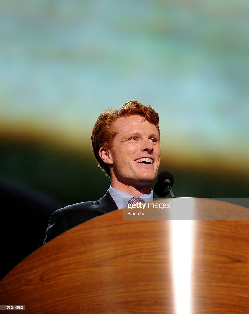 Joseph Kennedy III, congressional candidate for Massachusetts, smiles while speaking at the Democratic National Convention (DNC) in Charlotte, North Carolina, U.S., on Tuesday, Sept. 4, 2012. San Antonio Mayor Julian Castro, a Stanford University and Harvard Law School graduate, has the role of first Hispanic keynote speaker at the Democratic National Convention. Photographer: Daniel Acker/Bloomberg via Getty Images