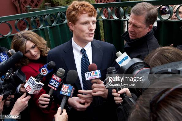 Joseph Kennedy III speaks with the press while visiting Morin's Hometown Bar and Grille on February 16 2012 in Attleboro Massachusetts Kennedy...