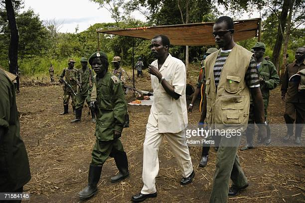 Joseph Kony head of the Lords Resistance Army arrives at a clearing in the Jungle to take part in peace talks on August 1 2006 Southern Sudan At his...