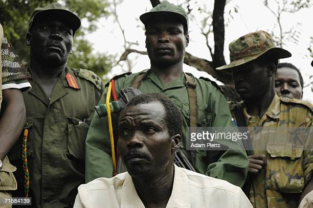 Joseph Kony head of the Lords Resistance Army prepares to take questions from journalists at his first press conference after twenty years of armed...
