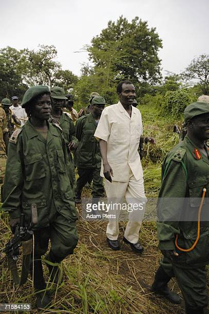 Joseph Kony leader of the Lords Resistance Army leaves a meeting with Dr Riek Machar Vice President of Southern Sudan on August 1 2006 in Southern...