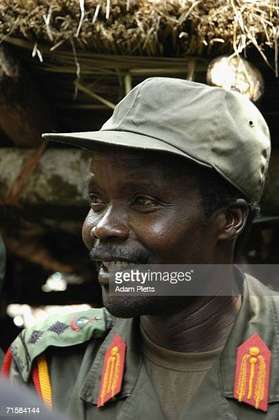 Joseph Kony leader of the Lords Resistance Army which has been fighting a twenty years war against the Ugandan Government smiles as he hosts a...