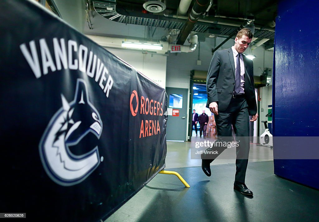 Joseph LaBate #62 of the Vancouver Canucks walks to the Canucks dressing before their NHL game against the Minnesota Wild at Rogers Arena November 29, 2016 in Vancouver, British Columbia, Canada.
