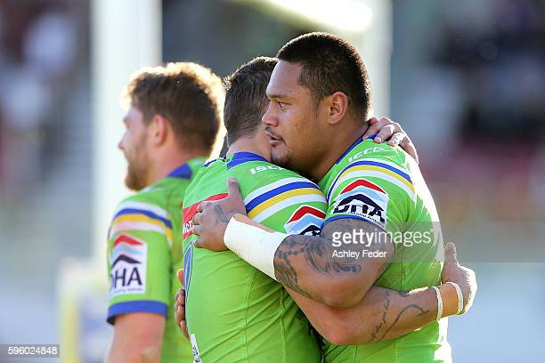 Joseph Leilua celebrates with his team during the round 25 NRL match between the Manly Sea Eagles and the Canberra Raiders at Brookvale Oval on...