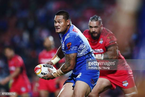 Joseph Leilua of Samoa in action during the 2017 Rugby League World Cup match between Samoa and Tonga at Waikato Stadium on November 4 2017 in...