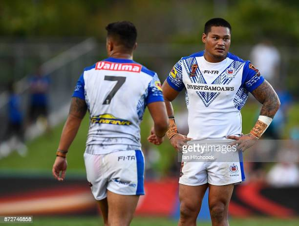 Joseph Leilua of Samoa looks dejected after drawing the 2017 Rugby League World Cup match between Samoa and Scotland at Barlow Park on November 11...