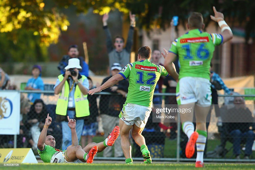 Joseph Leilua of the Raiders celebrates scoring a try during the round nine NRL match between the Penrith Panthers and the Canberra Raiders at Carrington Park on April 30, 2016 in Bathurst, Australia.