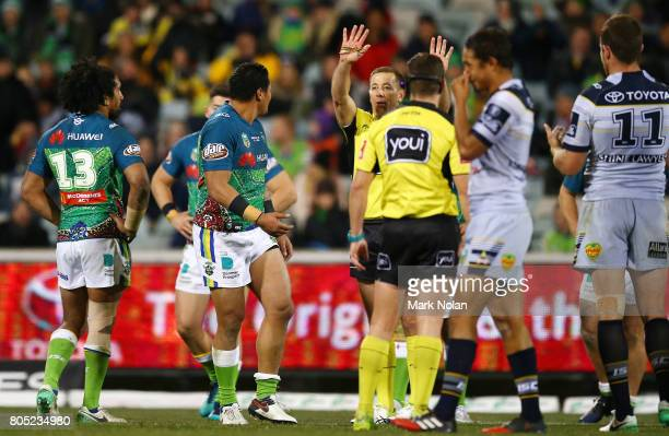 Joseph Leilua of the Raiders is sent to the sin bin during the round 17 NRL match between the Canberra Raiders and the North Queensland Cowboys at...