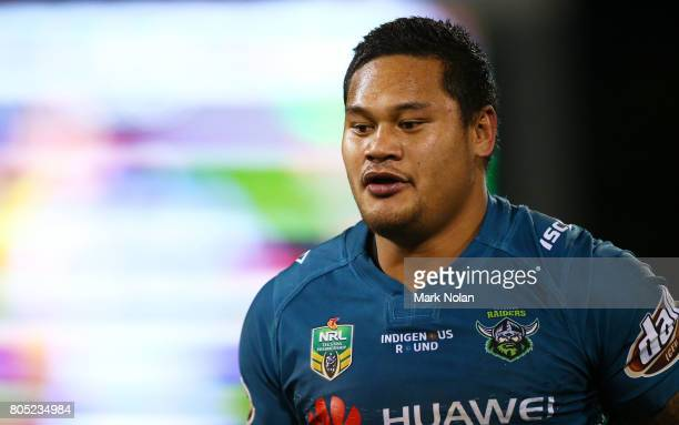 Joseph Leilua of the Raiders leaves the field after being sent to the sin bin during the round 17 NRL match between the Canberra Raiders and the...