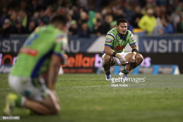 Joseph Leilua of the Raiders looks dejected after defeat during the round 14 NRL match between the Penrith Panthers and the Canberra Raiders at...