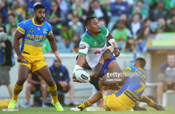 Joseph Leilua of the Raiders looks to offload during the round five NRL match between the Canberra Raiders and the Parramatta Eels at GIO Stadium on...