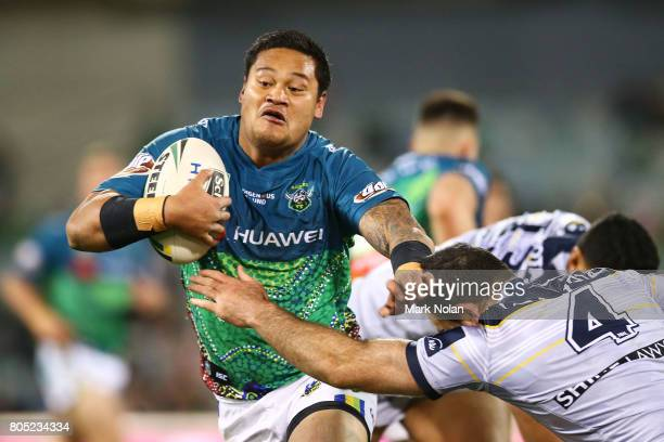 Joseph Leilua of the Raiders runs the ball during the round 17 NRL match between the Canberra Raiders and the North Queensland Cowboys at GIO Stadium...