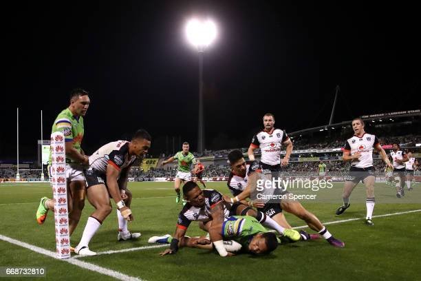 Joseph Leilua of the Raiders scores a try during the round seven NRL match between the Canberra Raiders and the New Zealand Warriors at GIO Stadium...