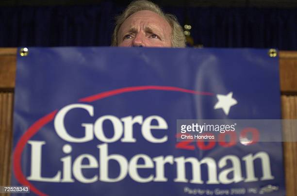 Joseph Lieberman running mate to presidential hopeful Al Gore speaks over a podium at a rally August 9 in Lieberman's hometown of Stamford Ct