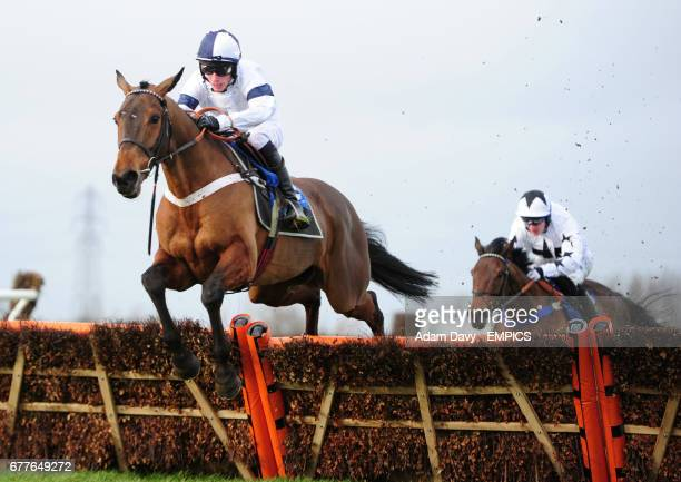 Joseph Lister ridden by Gary Derwin jumps the last on his way to winning the EPDS Consultants 'Saving Developers Money' Novices' Hurdle Race