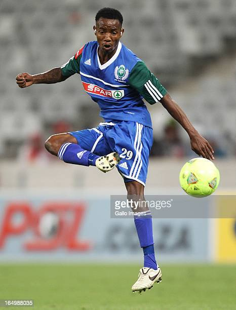 Joseph Malongoane of Amazulu FC controls the ball during the Absa Premiership match between Ajax Cape Town and AmaZulu at Cape Town Stadium on March...