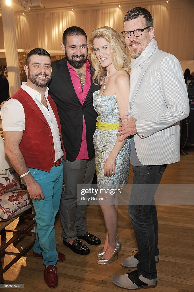 Joseph Mangone, Edward Garou, and TV personalities Alex McCord and Simon van Kempen attend Housing Works 9th Annual Design On A Dime Benefit at Metropolitan Pavilion on April 25, 2013 in New York City.