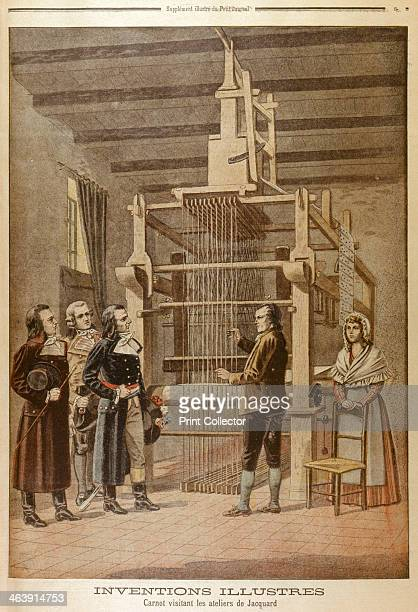 Joseph Marie Jacquard showing his loom to Lazare Carnot Lyon France 1801 French silkweaver and inventor Jacquard invented a loom which used a punched...