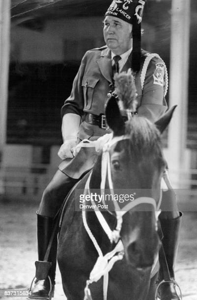 Joseph Matthews Captian of St Louis Modlah Temple Mounted Lancer Patrol Credit Denver Post
