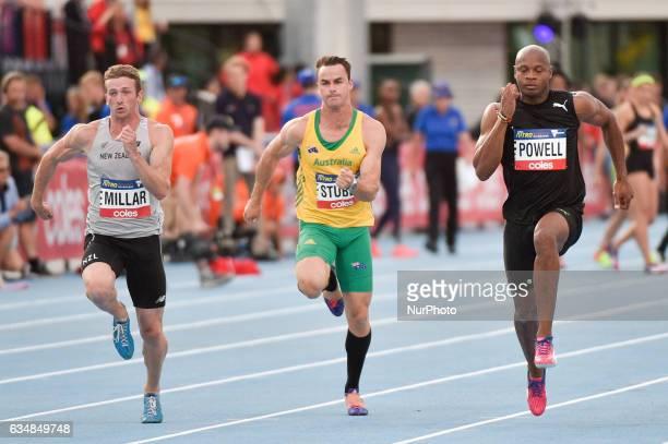 Joseph Millar of New Zealand Aaron Stubbs of Australia and Asafa Powell of the Bolt All Stars during the 60m Sprint at Nitro Athletics at Lakeside...