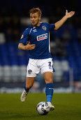 Joseph Mills of Oldham during the Capital One Cup First Round match between Oldham Athletic and Middlesbrough at Boundary Park on August 12 2014 in...