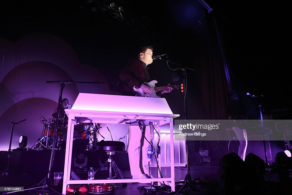 Joseph Mount and Anna Prior of Metronomy perform on stage at Ritz Manchester on March 14, 2014 in Manchester, United Kingdom.