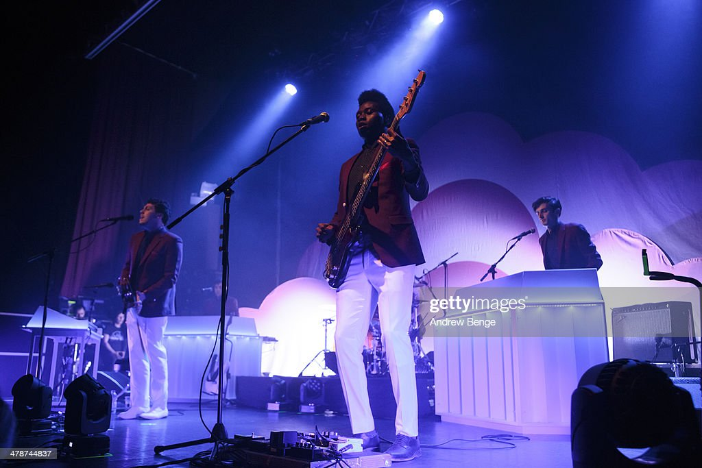 Joseph Mount, Olugbenga Adelekan and Oscar Cash of Metronomy perform on stage at Ritz Manchester on March 14, 2014 in Manchester, United Kingdom.