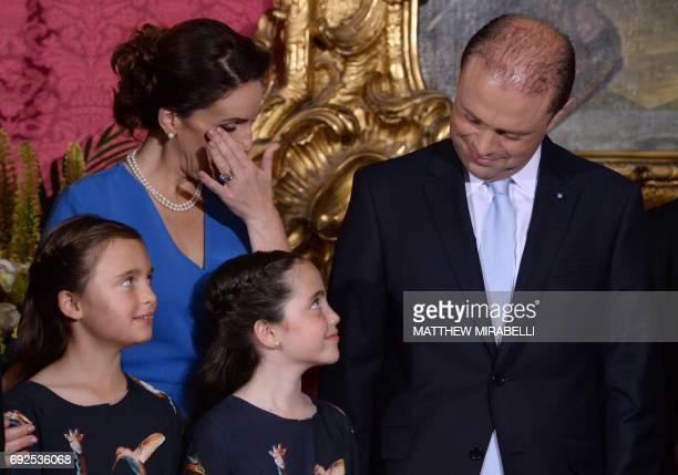Joseph Muscat accompanied by his wife Michelle Muscat and two daughters is sworn in as Prime Minister of Malta at The Palace of the Grand Master in...