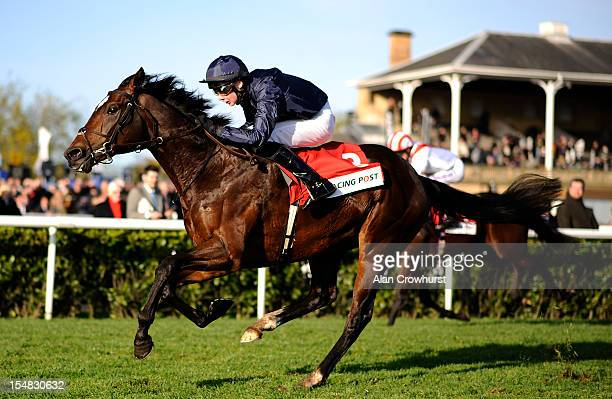 Joseph O'Brien riding Kingsbarns win The Racing Post Trophy at Doncaster racecourse on October 27 2012 in Doncaster England