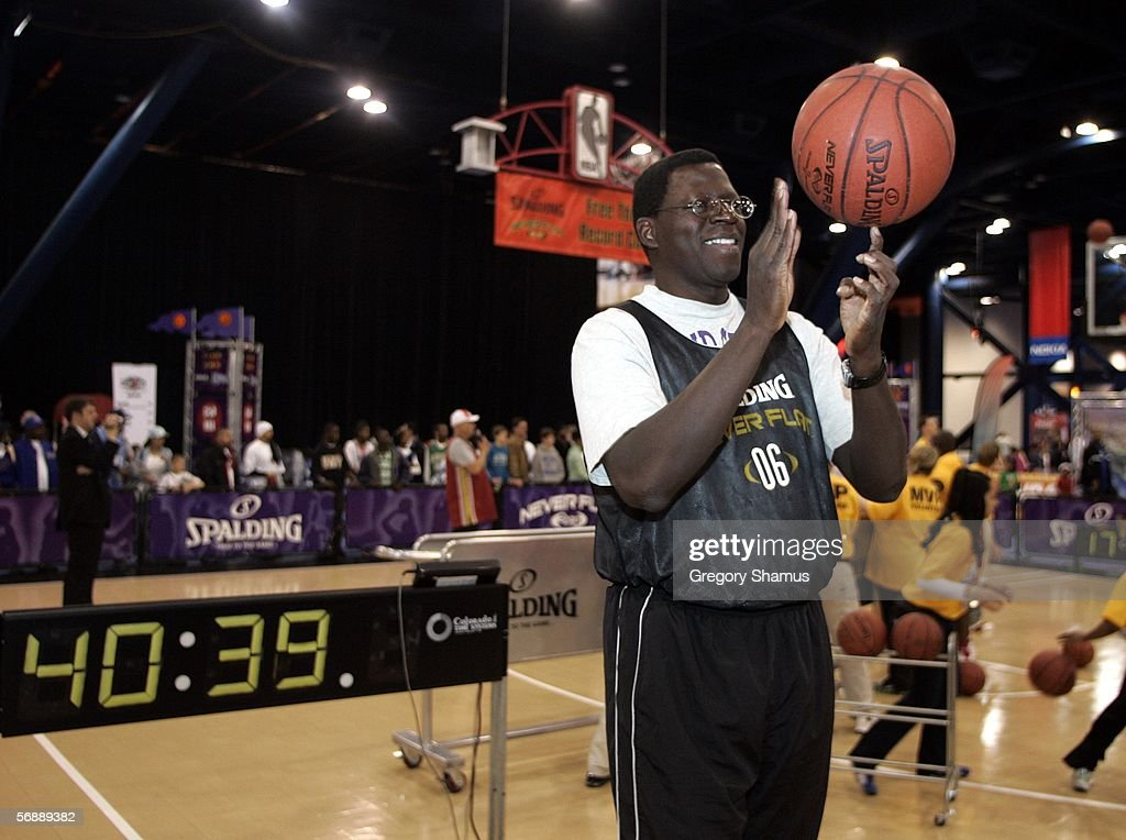 Joseph Odhiambo goes for the Guinness World Record for spinning a basketball over four hours at the Spalding Neverflat court at Jam Session during...