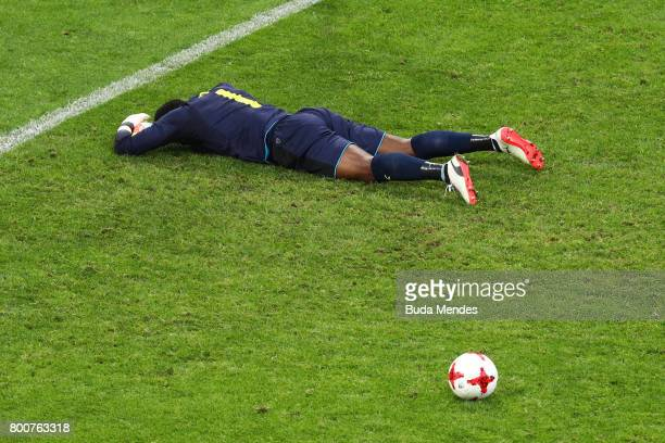 Joseph Ondoa of Cameroon is dejected after Germany's third goal during the FIFA Confederations Cup Russia 2017 Group B match between Germany and...
